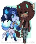 ambiguous_gender anthro bovine cattle chibi clothed clothing dtalvi duo feline hand_holding hybrid lion male mammal smile standing