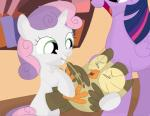 absurd_res aloysius_(mlp) avian bird bird_feet book feathers feet female feral friendship_is_magic green_eyes group hair hi_res horn laugh multicolored_hair my_little_pony owl porygon2z sweetie_belle_(mlp) tickling twilight_sparkle_(mlp)Rating: SafeScore: 4User: Porygon2zDate: March 08, 2017