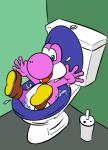 ambiguous_gender bathroom discardo mario_bros nintendo open_mouth purple_yoshi solo stuck toilet toilet_vore video_games yoshi