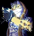 2017 5_fingers abs anthro black_hair chest_tuft chromatic_aberration clothed clothing depth_of_field electricity feline fingerless_gloves fur gloves hair hi_res hoodie inner_ear_fluff leopard likulau looking_at_viewer male mammal muscular nekojishi red_nose serious solo soraa spots spotted_fur tattoo tuft yellow_eyes yellow_fur
