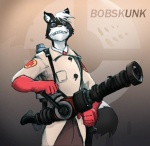 2007 anthro ayato black_fur bobskunk clothing english_text eyewear fur glasses gloves looking_at_viewer male mammal medic_(team_fortress_2) medigun skunk solo team_fortress_2 text valve video_games
