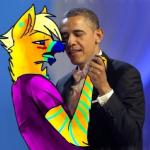 2013 abstract_background ambiguous_gender anthro barack_obama black_nose blonde_hair blue_eyes blue_fur blush bow_tie canine clothed clothing duo eyes_closed fur hair hand_holding hespercambrie high_quality_art human jewelry lol_comments male mammal multicolored_fur president real real_world ring simple_background sparkledog striped_fur stripes suit what why yellow_fur