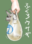 ambiguous_gender bag duo feral in_bag in_container japanese_text lagomorph mammal pet rabbit shopping_bag text translated uziga_waita what