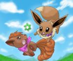 ambiguous_gender black_nose brown_fur canine day duo eevee fenneklns feral fur mammal multi_tail nintendo open_mouth outside pokémon pokémon_(species) pokémon_mystery_dungeon sky smile time_gear video_games vulpixRating: SafeScore: 5User: BabyflareonDate: October 29, 2016
