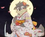 2017 anthro blush canine clothed clothing crossdressing dog japanese_clothing katana kemono kimono kinoko3331_(artist) male mammal melee_weapon moritaka scar slightly_chubby sword tokyo_afterschool_summoners weaponRating: SafeScore: 2User: LoupMouneDate: August 18, 2017