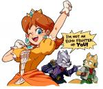2018 angry anthro blue_eyes brown_fur brown_hair canine clothing crossover crown dialogue ear_piercing english_text female fox fox_mccloud fur gloves grey_fur group hair happy human human_focus jacket jewelry male mammal mario_bros nemurism nintendo one_eye_closed piercing princess_daisy scarf short_hair solo_focus star_fox super_smash_bros super_smash_bros._ultimate text video_games white_fur wink wolf wolf_o'donnellRating: SafeScore: 10User: Cane751Date: June 18, 2018