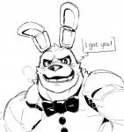 2018 animatronic blush bonnie_(fnaf) bow_tie clothing dialogue english_text five_nights_at_freddy's heavy_breathing lagomorph looking_at_viewer machine male mammal monochrome muscular muscular_male null-ghost rabbit robot simple_background sketch sweat talking_to_viewer teeth text vest video_games white_backgroundRating: SafeScore: 1User: MairoDate: June 17, 2018