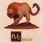 claws feral fur humanoid_face male mane manticore mythology nathanandersonart nude persian_mythology red_fur scorpion_tail snarling solo