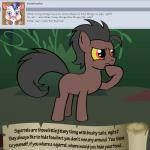 animated bitterplaguerat confusion earth_pony equine forest horse loki_(bitterplaguerat) mammal my_little_pony pony solo text tree yellow_eyes