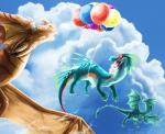 balloon blue_eyes day detailed_background digital_media_(artwork) dragon feral flying group lizard membranous_wings ocelotlrama open_mouth outside reptile scalie sky smile tongue wings