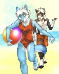 4_toes anthro ball barrakoda beach beach_ball blue_eyes blue_fur bulge canine clothed clothing crossdressing digital_media_(artwork) dog duo fuckie fur girly hair holding_ball husky inflatable looking_back male mammal one-piece_swimsuit orange_bottomwear orange_clothing orange_topwear outside paws pool_toy sand sea seaside simple_background smile strict_husky stripes swimming_trunks swimsuit toes walking water white_hair wolf yellow_eyesRating: SafeScore: 23User: KodaForShortDate: June 13, 2013