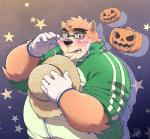 2017 anthro bear blush brown_fur clothing daihukudokoro eyewear food fruit fur glasses gloves hat male mammal overweight overweight_male pumpkin solo straw_hat tokyo_afterschool_summoners volos