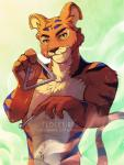 2016 anthro blue_stripes clockbirds countershading detailed_background feline fur holding_musical_instrument holding_object humanoid_hands kougra looking_at_viewer male mammal neopets nude orange_fur solo standing stripes tan_countershading tiger triangle_(musical_instrument) yellow_eyesRating: SafeScore: 2User: SnowWolfDate: January 18, 2018