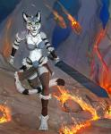 4_toes anthro araivis-edelveys bikini_armor breasts cat chest_tuft clothed clothing digitigrade feline female fire fur green_eyes grey_fur holding_object holding_weapon looking_at_viewer mammal melee_weapon midriff navel pink_nose smile solo sword toes tuft weapon white_furRating: SafeScore: 4User: MillcoreDate: August 16, 2017