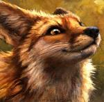 2015 abstract_background ambiguous_gender black_lips black_nose brown_eyes brown_fur canine detailed detailed_background ears_back fangs feral fox fur headshot_portrait icon inner_ear_fluff kenket long_mouth mammal no_sclera orange_fur photorealism portrait reaction_image red_fox shadow slit_pupils smile smug snout solo teeth traditional_media_(artwork) whiskers white_fur