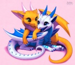 2013 blue_eyes byzil chibi cub cute digital_media_(artwork) dragon duo falvie female feral feral_on_feral green_eyes happy hatchling horn kicks male membranous_wings open_mouth orange_body scalie simple_background spikes white_body wings yellow_eyes youngRating: SafeScore: 62User: slyroonDate: February 03, 2013