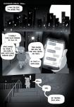 2017 absurd_res caesar_(peculiart) chat city clothing comic dandy_demons devilchild digital_media_(artwork) english_text faceless_(species) footwear hi_res hoodie horn humanoid hybrid male night not_furry peculiart phone sandals solo text walking