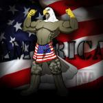 abs anthro avian avias_(artist) bald_eagle beak biceps big_muscles bird boots clothed clothing eagle english_text flag flexing footwear hi_res male military military_fatigues muscular open_mouth pants patriotism pecs politics soldier solo standing text topless united_states_of_america