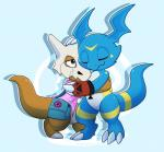 2017 blue_scales brothers claws clothed clothing cubone cute detailed_background digimon digital_media_(artwork) dragon duo fan_character giramon guilmon hi_res hug hybrid lizard male markings nintendo niu-ka pokémon pokémon_(species) reptile scales scalie sibling simple_background sven_(character) sven_the_giramon toe_claws toto_(character) totodice1 vee4eva veemon video_games
