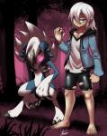 3_fingers 3_toes 5_fingers 5_toes ambiguous_gender beige_skin black_bottomwear black_clothing black_hair blue_fur blue_topwear claws clothing duo female forest fur green_eyes hair human kivwolf looking_at_viewer lycanroc mammal midnight_lycanroc nintendo pokéball pokémon red_eyes red_sclera shiny_pokémon shirt spats toes torn_clothing tree video_games white_fur white_hair white_topwearRating: SafeScore: 5User: StrikermanDate: June 27, 2017