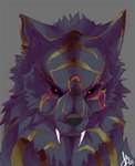 anthro black_fur black_nose canine demon fangs fur grey_background looking_at_viewer male mammal red_eyes rogel signature simple_background solo whiskersRating: SafeScore: 9User: mscDate: March 25, 2007