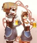 2018 alcohol anthro badger beer beverage blue_eyes breasts brown_hair canine cleavage clothed clothing coyote digital_media_(artwork) duo female hair hi_res holding_object keg long_hair looking_at_viewer mammal mustelid mykegreywolf open_mouth purple_eyes white_hair