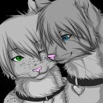 ambiguous_gender anthro blue_eyes cat collar duo feline freckles fur green_eyes grey_fur kidakat low_res mammal romantic_couple soundsky stripes vergial