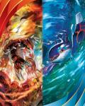 ambiguous_gender blue_skin claws duo feral fin fire groudon hi_res horn kyogre legendary_pokémon liquid nintendo official_art pokémon red_skin spikes tokiya_sakuba video_games water yellow_eyes