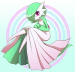 ambiguous_gender blush clothing cute dress eyelashes gardevoir green_hair hair humanoid looking_at_viewer mammal nintendo nollety not_furry pokémon pokémon_(species) red_eyes short_hair sitting smile solo video_games