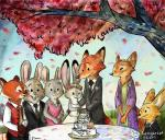 2017 anthro bonnie_hopps canine clothed clothing disney dress fan_character female fennec finnick fox group judy_hopps lagomorph male mammal mrs_wilde nick_wilde rabbit red_panda simple_background softlight289 stu_hopps wedding_dress zootopia