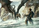 2009 boots clothing cloud dragon duo footwear human kerem_beyit kerembeyit male mammal melee_weapon mountain outside scalie sky sword water watermark weapon