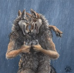 alcohol anthro beverage blotch brown_eyes canine coyote duo eyes_closed food glass happy hug male male/male mammal outside raining romantic_couple smile wet