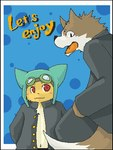 ambiguous_gender anthro black_nose blue_background blush brown_fur canine cat cel_shading clothed clothing cute dipstick_tail duo english_text eyewear eyewear_on_head feline fur goggles goggles_on_head green_bell headwear jacket kemono low_res mammal multicolored_tail open_clothing open_mouth red_eyes simple_background text white_fur wolf yellow_furRating: SafeScore: 0User: The Dog In Your GuitarDate: March 25, 2007