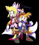 anthro canine clothing cosplay dipstick_tail drawloverlala duo female footwear fox fur gloves hi_res male mammal miles_prower multicolored_tail signature sonic_(series) sonic_boom tengen_toppa_gurren_lagann video_games white_fur yellow_fur zooey_the_fox