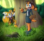 2017 anthro badger biology blue_eyes bow business_dress canine clipboard clothing duo female fox fur jungle loincloth lord-kiyo male mammal markings miles_prower mustelid reptile scalie sonic_(series) sonic_boom sticks_the_jungle_badger tribal turtle video_gamesRating: SafeScore: 7User: Rysaerio-MisoeryDate: May 21, 2017