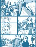 2015 anthro armor cloak clothed clothing comic daniels_(twokinds) feline female flora_(twokinds) fur group hair human keidran keiren_(twokinds) male mammal monochrome outside simple_background sketch therie_sah-van tiger tom_fischbach trace_legacy twokinds webcomic white_background