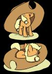 2018 alpha_channel applejack_(mlp) blonde_hair cub cute earth_pony equine eyelashes eyes_closed female feral foudubulbe freckles friendship_is_magic hair hat horse lying mammal my_little_pony nude open_mouth open_smile pony simple_background sleeping smile solo tongue transparent_background young