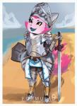 2017 anthro armor beach clothing cloud fangs fantasy female formula9 fox fur helmet humanoid knight melee_weapon multi_tail open_mouth pink_fur sand seaside shield short_stack smile solo sword telemonster tuft weapon yossi