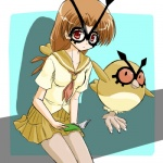 alternate_species brown_hair clothing cosplay duo female feral hair hoothoot human humanized long_hair low_res mammal nintendo pokémon pokémon_trainer ranphafranboise red_eyes skirt video_games