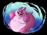2017 3_toes 4_fingers alien back_spines cannonball_(lilo_and_stitch) claws digital_drawing_(artwork) digital_media_(artwork) disney experiment_(species) grainy hi_res kibadoglover45 leg_markings lilo_and_stitch looking_at_viewer markings no_sclera obese open_mouth open_smile overweight pink_body purple_nose smile soft_shading solo toe_claws toes toony v_sign whirlpool