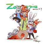 ambiguous_gender anthro baby canine clothed clothing cub cute disney eyes_closed family female fox fur good_parenting green_eyes grey_fur group hi_res hug hybrid judy_hopps lagomorph lying male mammal nick_wilde parent rabbit rampo red_fur simple_background sleeping text young zootopia