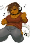 air_guitar animal_humanoid breasts brown_hair cleavage clothed clothing collar dancing dragon-chan eyes_closed female hair humanoid kneeling mammal overweight pants shirt simple_background solo source_request white_backgroundRating: SafeScore: 0User: mscDate: May 11, 2007