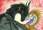 2016 black_scales blue_eyes dragon feathered_wings feathers green_eyes horn membranous_wings scales smile tir-goldeness traditional_media_(artwork) wingsRating: SafeScore: 1User: MillcoreDate: January 23, 2018