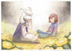 anthro asriel_dreemurr boss_monster caprine crying cute dialogue duo emotional flower friendly goat human mammal plant prince protagonist_(undertale) regal royalty smile tears undertale video_games wolf_of_coas_(artist)
