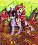 2011 apple_bloom_(mlp) barn big_eyes blue_eyes cutie_mark earth_pony equine female feral field friendship_is_magic green_sky group hi_res horn horse mammal my_little_pony open_mouth open_smile outside painting_(artwork) pinkie_pie_(mlp) pony porkcow purple_eyes sad sky smile standing traditional_media_(artwork) twilight_sparkle_(mlp) unicorn