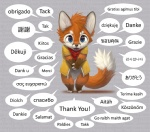 anthro bandanna blue_eyes brown_fur canine cebuano_text chibi chinese_text clasped_hands clothing cute czech_text danish_text dialogue dipstick_tail divinian_text dutch_text ears_up estonian_text filipino_text fingerless_(marking) finnish_text fluffy fluffy_tail fox french_text fur german_text gloves_(marking) greek_text hungarian_text indonesian_text inner_ear_fluff irish_text italian_text jacket japanese_text korean_text latvian_text looking_at_viewer male mammal markings multicolored_tail multilingual norwegian_text open_mouth orange_fur polish_text portuguese_text rosetta_stone russian_text silverfox5213 socks_(marking) solo spanish_text speech_bubble swedish_text talking_to_viewer text text_background thai_text thank_you toeless_(marking) translated two_tone_tail vietnamese_text welsh_text white_fur yellow_jacket young zipper