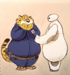 2016 anthro baymax benjamin_clawhauser big_hero_6 cheetah disney duo feline male mammal mortic_ox simple_background zootopia