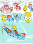 applejack_(mlp) bart_simpson blue_eyes blue_feathers blue_fur comic cowboy_hat cutie_mark dialogue earth_pony english_text equine feathered_wings feathers female feral fluttershy_(mlp) friendship_is_magic fur group hair hat homer_simpson horse lisa_simpson male mammal multicolored_hair multicolored_tail my_little_pony open_mouth pegasus pink_fur pink_hair pinkie_pie_(mlp) pony purple_eyes rainbow_dash_(mlp) rainbow_hair rainbow_tail text the_simpsons timothy_fay wings yellow_fur