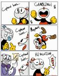 2017 animate_inanimate animated clothed clothing comic cup cuphead_(character) cuphead_(game) datsheepbeep digital_media_(artwork) fully_clothed group happy humanoid king_dice male meme mugman mugman_(character) not_furry object_head standing toony