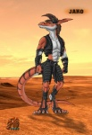 anthro claws clothed clothing colored desert desolate dinosaur evening jako kangaroo male mammal marsupial outside raptor sand scalie solo standing sun theropod